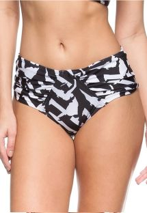 Zwart/witte bikinibroek met hoge taille - BOTTOM DUNAS DO BRASIL