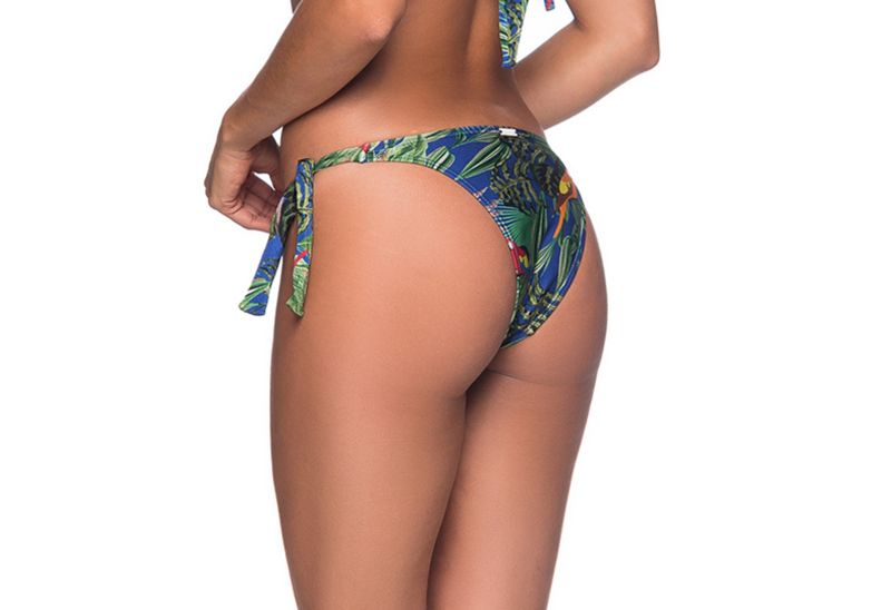 Side-tie bikini bottom in colorful tropical print - BOTTOM FAIXA ARARA AZUL