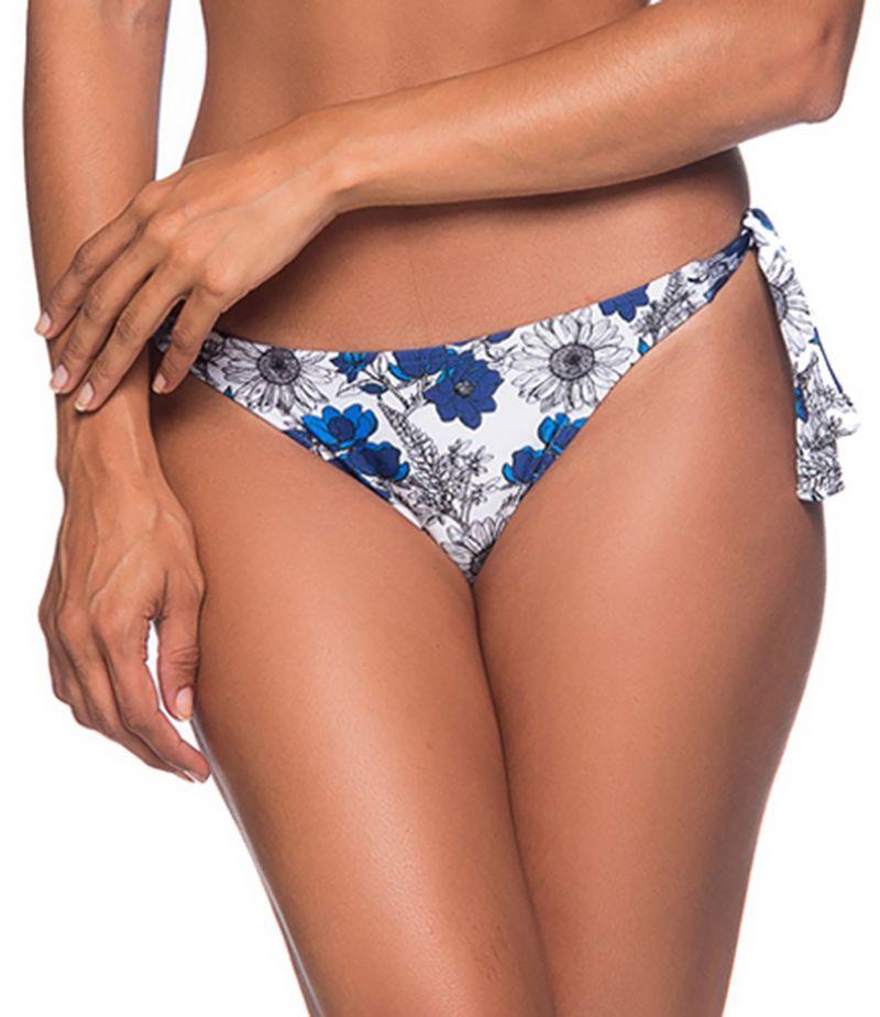 Side-tie bikini bottom in blue & white floral print - BOTTOM FAIXA ATOBA