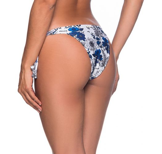 Side-tie bikini bottom in blue & white floral print - BOTTOM FAIXA ATOBA