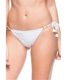 White scrunch bikini bottoms with tassels - BOTTOM FAIXA DE AREIA