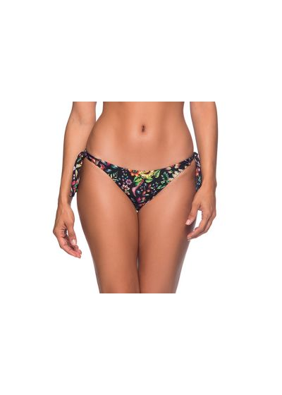 Black side-tie bikini bottom in floral print - BOTTOM FAIXA DREAM