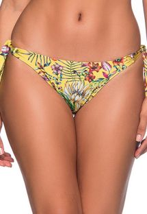 Yellow side-tie bikini bottom in floral print - BOTTOM FAIXA DREAM AMARELA