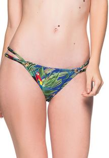 Tropical colorful double side Brazilian bikini bottom - BOTTOM FIXO ARARA AZUL