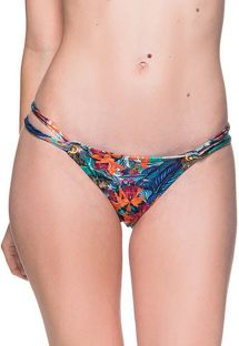 Tropical print double side Brazilian bikini bottom - BOTTOM FIXO NORONHA FLORAL