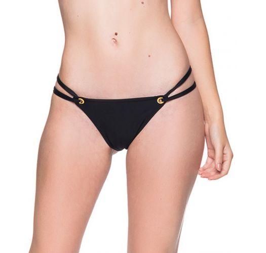 Black double side Brazilian bikini bottom with eyelets - BOTTOM FIXO PRETO