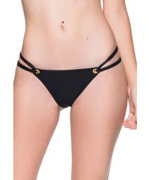 Black double side Brazilian bikini bottom with eyelets - BOTTOM FIXO PRETO