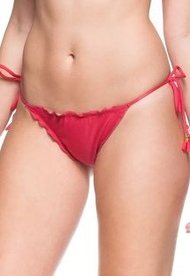 Dark pink side-tie scrunch bikini bottom - BOTTOM GRAVIOLA