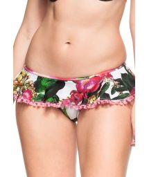 Skirty bikini bottom with rose print and pompons - BOTTOM HIBISCO ROSA