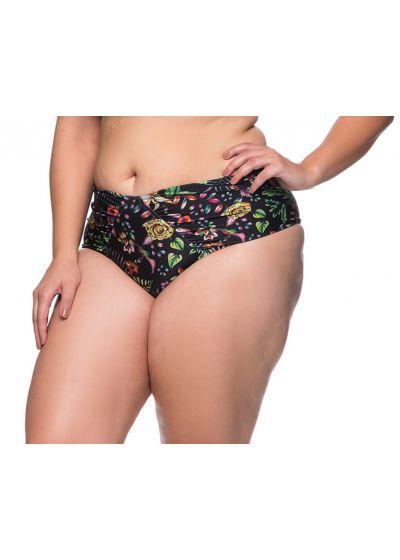 Black floral pleated bikini bottom plus size - BOTTOM LARGA DREAM