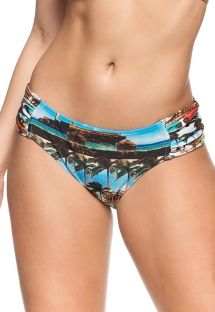 Pleated larger side bikini bottom with Cuba motif - BOTTOM LIBERDADE