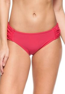 Drak pink larger side pleated bikini bottom - BOTTOM LICHIA