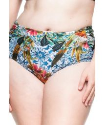 Plus-size floral larger side bikini bottom - BOTTOM MAR COLORIDO
