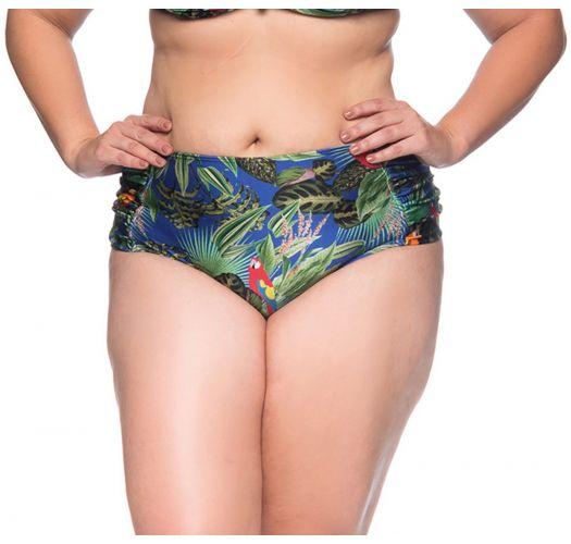 Tropical floral pleated bikini bottom - plus size - BOTTOM MEIA TACA PEDRA ARARA AZUL