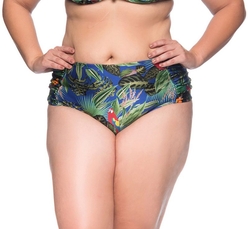 Tropical floral pleated bikini bottom - plus size - BOTTOM MEIA TACA PEDRA ARARA AZUL