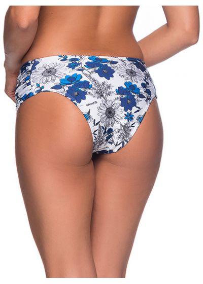 Blau/weißgeblümte Bikinihose, breite Seiten - BOTTOM NO ATOBA
