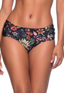 Floral black larger side bikini bottom - BOTTOM NO DREAM