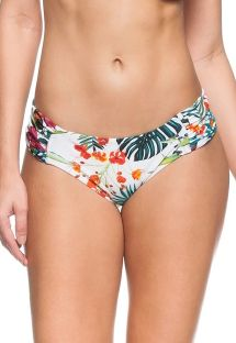 White floral pleated bikini bottom - BOTTOM OCEANO PACIFICO