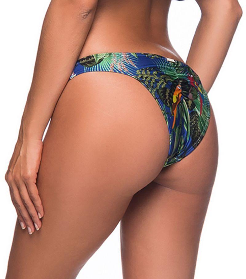 Colorful tropical scrunch bikini bottom with zig zag detail - BOTTOM OMBRO ARARA AZUL