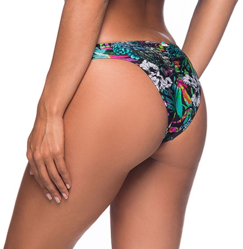 Colorful floral scrunch bikini bottom with zig zag detail - BOTTOM OMBRO ATALAIA