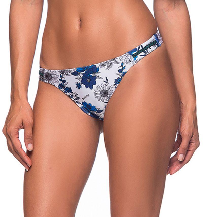 Floral blue scrunch bikini bottom with zig zag detail - BOTTOM OMBRO ATOBA