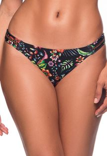 Scrunch bikinitrusser med sort blomstermønster og zigzag-detaljer - BOTTOM OMBRO DREAM