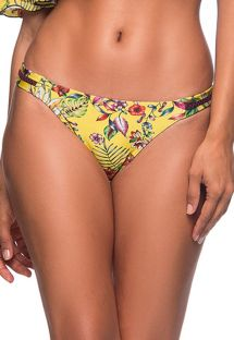 Yellow floral scrunch bikini bottom with zig zag detail - BOTTOM OMBRO DREAM AMARELA
