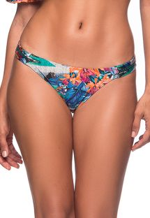 Tropical scrunch bikini bottom with zig zag detail - BOTTOM OMBRO NORONHA FLORAL