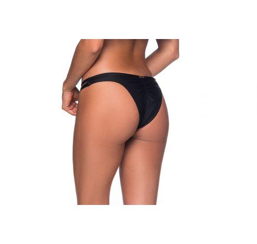Svart festet bikiniunderdel med sikk-sakk-mønster - BOTTOM OMBRO PRETO