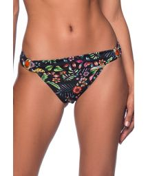 Black floral Brazilian bikini bottom with stones - BOTTOM PEDRA DREAM