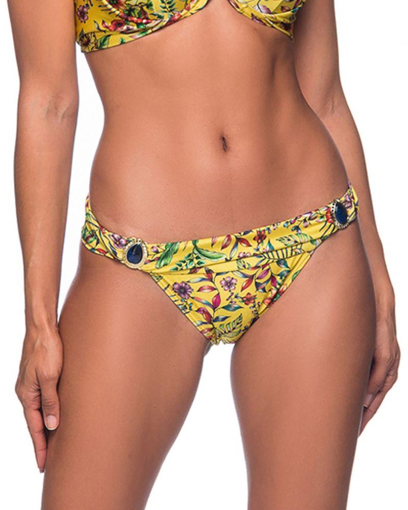 Gelbgrundig geblümte Bikinihose mit Steinen - BOTTOM PEDRA DREAM AMARELA
