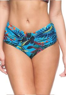 Floral blue high-waisted pleated bikini bottom - BOTTOM PISCINA NATURAL