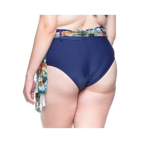 Plus-size navy blue bikini bottom + pareo - BOTTOM PRAIA DAS FONTES