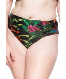 Plus-size tropical black bikini bottom - BOTTOM PRAIA DE GUADALUPE