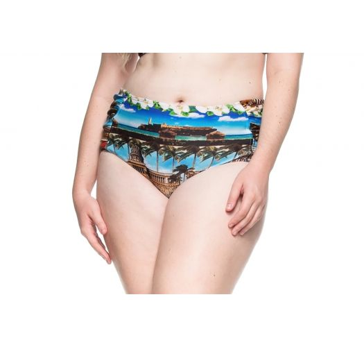 Plus-size tropical larger side bikini bottom - BOTTOM PRAIA DE PILAR
