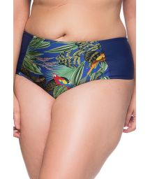 Tropical/navy bikini bottom - plus size - BOTTOM RECORTES ARARA AZUL