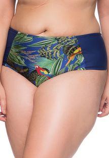 Plus-size bikinitrusser med tropisk print/marineblå detaljer - BOTTOM RECORTES ARARA AZUL