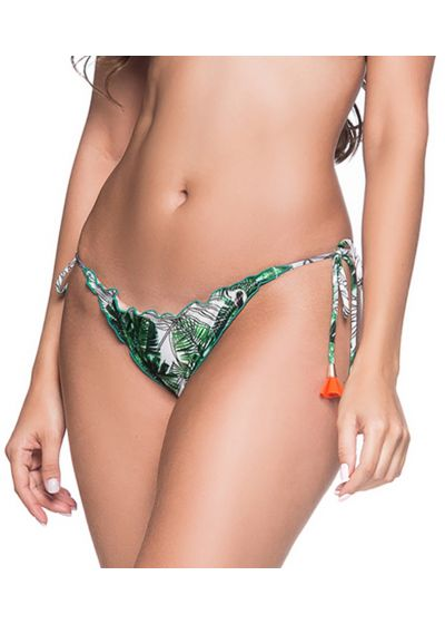 Green leaves scrunch bikini bottoms with pompons - BOTTOM RILLPLE VIUVINHA