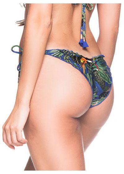 Colorful tropical scrunch bikini bottoms with pompons - BOTTOM RIPPLE ARARA AZUL