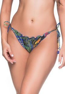 Colorful tropical scrunch bikini bottoms with pompons - BOTTOM RIPPLE ARARA AZUL