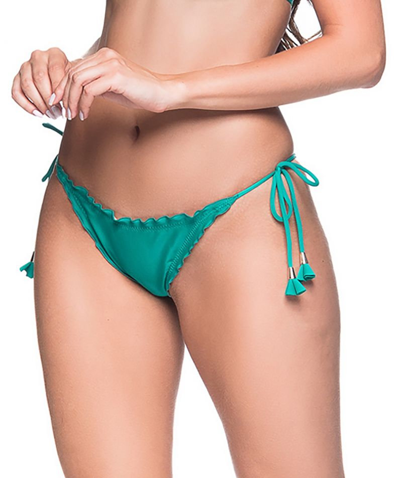 Green side-tie scrunch Brazilian bikini bottom - BOTTOM RIPPLE ARQUIPELAGO