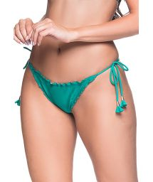 Green side-tie scrunch Brazilian bikini bottom - BOTTOM RIPPLE ARQUIPELAGO