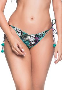 Colorful floral scrunch bikini bottoms with pompons - BOTTOM RIPPLE ATALAIA