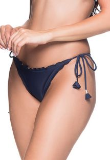 Navy blue scrunch bikini bottoms with pompons - BOTTOM RIPPLE MIRAMAR