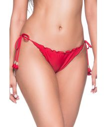 Rote Scrunch-Bikinihose mit Pompons - BOTTOM RIPPLE MULUNGU