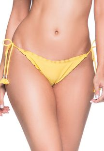 Yellow scrunch bikini bottoms with pompons - BOTTOM RIPPLE PAELLA