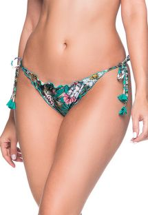 Floral green scrunch bikini bottoms with pompons - BOTTOM RIPPLE TROPICAL GARDEN