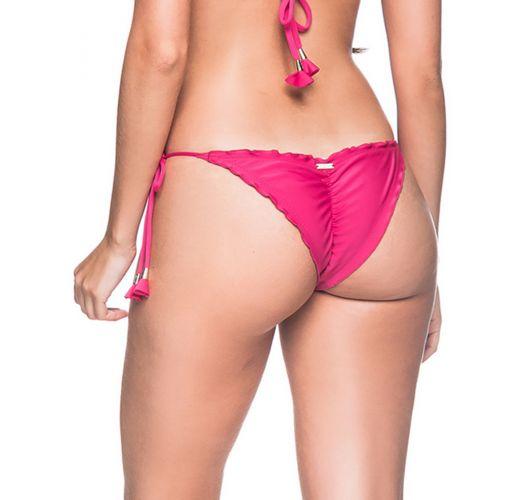 Rosa Scrunch-Bikinihose mit Pompons - BOTTOM RIPPLE TROPICALIA