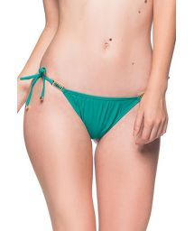 Green side-tie scrunch bikini bottom with stones - BOTTOM ROLOTE ARQUIPELAGO