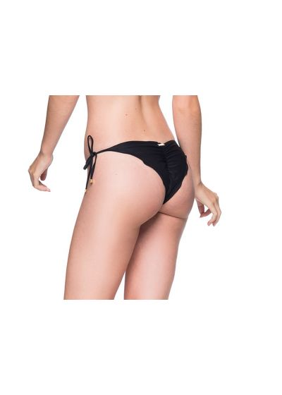 Svart skrynklad brasiliansk bikininederdel med gröna stenar - BOTTOM ROLOTE PRETO